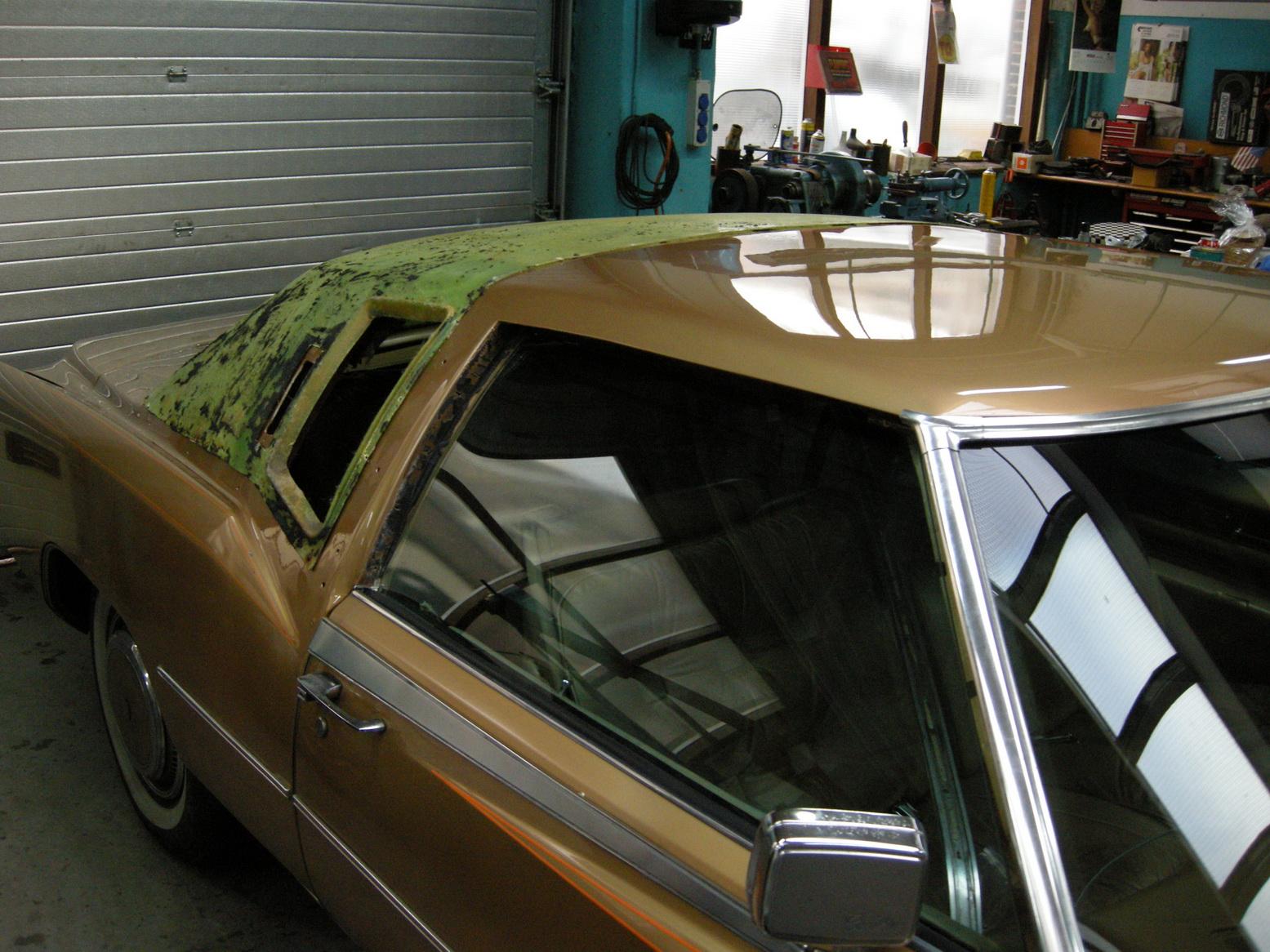 20101209 1977 cadillac eldorado biarritz roof nearly done 09